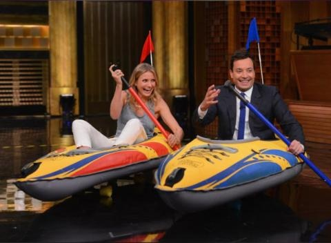 News video: Cameron Diaz, Jimmy Fallon Compete In Bizzare-O Kayak Race